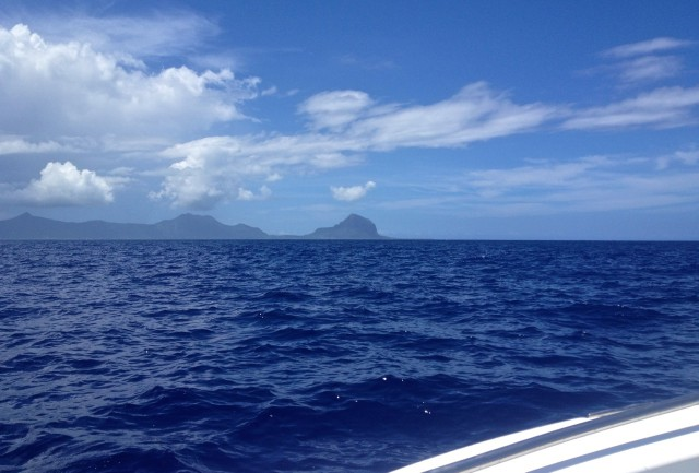 Somewhere in the ocean around 10 km from Mauritius