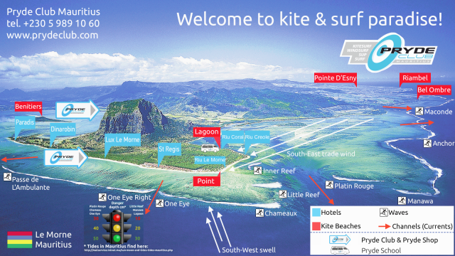 Kite and surf map of Le Morne